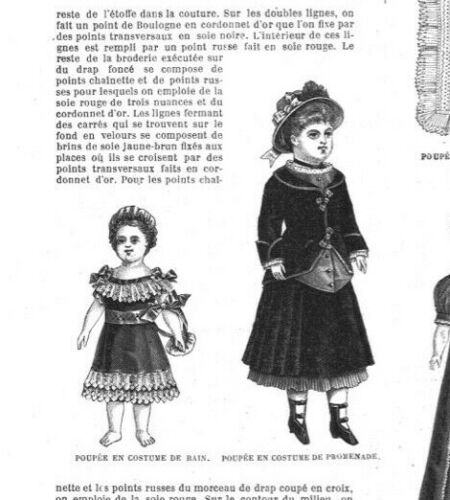 MODE ILLUSTREE SEWING PATTERN Dec 5,1880 DOLL clothing patterns