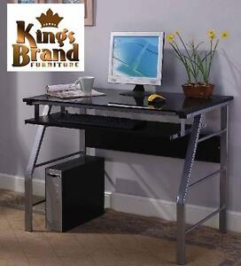 NEW KING'S BRAND GLASS  METAL DESK GLASS AND METAL OFFICE COMPUTER DESK/TABLE - SILVER FINISH 105844006