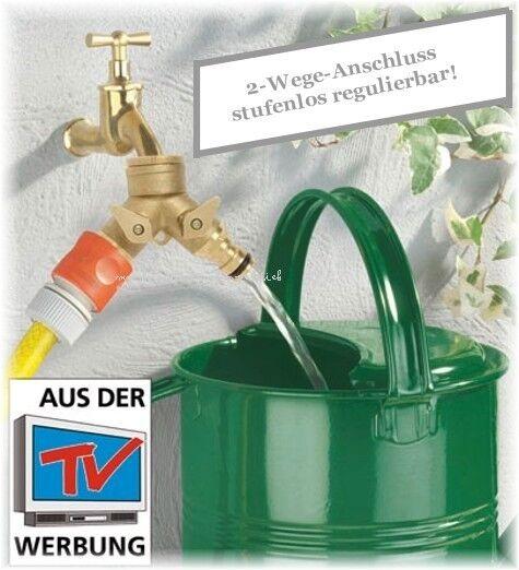 Messing DUO Doppel Wasserhahn Anschluss Aufsatz Keller Garten Schlauch 1/2 u 3/4