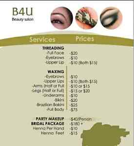 Hi,I am offering threading, waxing, party and bridal makeup