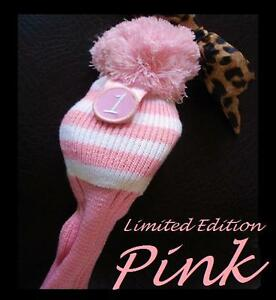 1-Limited-Edition-Pink-White-Strip-Knit-PomPom-Longneck-Driver-Womens-HeadCover