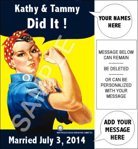 Personalized Gay Marriage Rosie The Riveter Poster 11X17  LGBT Pride We Did It
