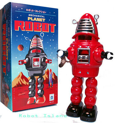 Planet Robot Red Tin Toy Windup Robby the Robot New Schylling - SALE!