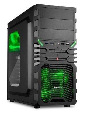 Sharkoon PC Computer Gehäuse VG4-W ATX Midi Tower schwarz/grün - ohne Netzteil