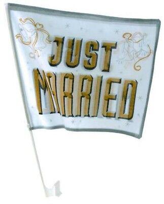2 x Autofahne Just Married gold Hochzeit Fahne 2er Set Autokorso heiraten Liebe
