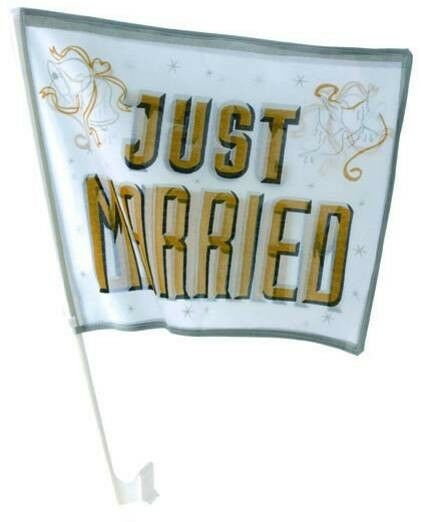 Autoflagge Autofahne Just Married gold Hochzeit Deko Fahne heiraten Autokorso