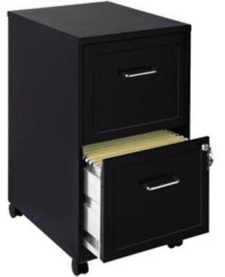 2 Drawer Mobile File Cabinet Black Filing Cabinets Home Office Furniture Metal