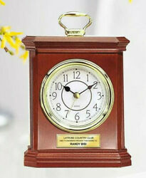 Desk Wood Clock Carriage Gold Handle with Gold Engraving Plate GIft Award Grads