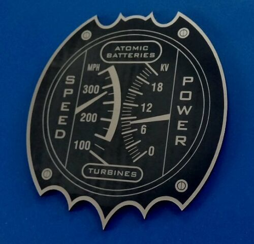 "CUSTOM BATMOBILE ATOMIC BATTERIES & TURBINES ""GAUGE"" PLATE PROP 1966 BATMAN"