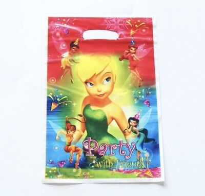 Tinkerbell Birthday Theme (NEW Pack of 10 Girls Tinkerbell Disney Fairy Themed Party Loot Bag Lolly)