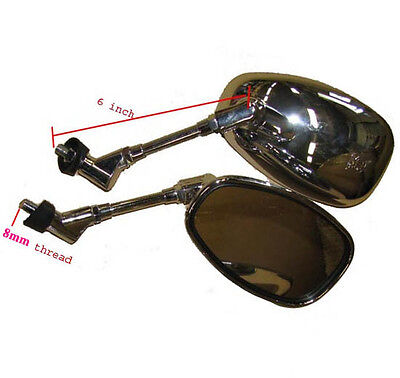 - Chrome Oval Mirrors set  (8mm thread) for Moped Scooter
