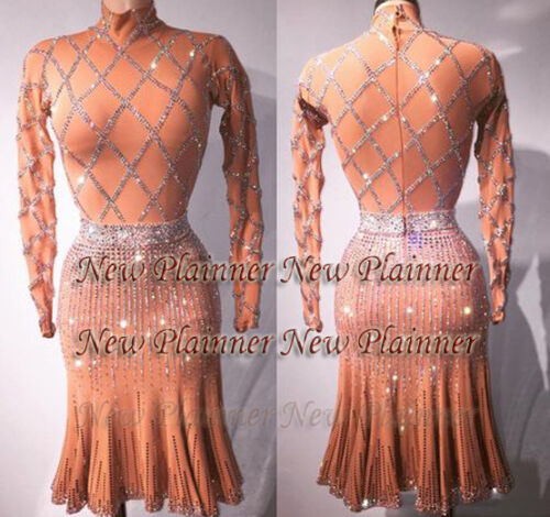 L713 Ballroom Samba Cha Cha Ramba Latin  Rhythm US 8 Dance dress  sleeve nude