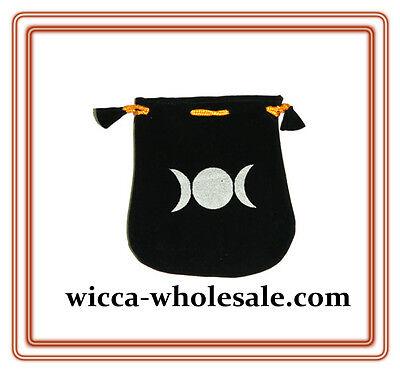 Black Velvet Bag Pouch 5 X 5 Triple Moon Wicca Talisman Drawstring Tarot