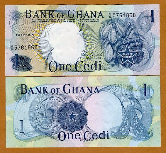 Ghana, 1 Cedi, 1971, P-10 (10c), aUNC > scarce