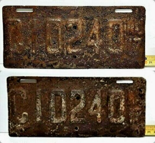 NEW JERSEY - 1917 matched set of MOTORCYCLE license plate - all original HEAVY