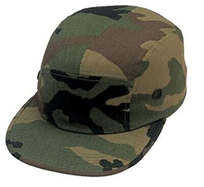 CAMOUFLAGE 5 PANEL STRAPBACK HAT Woodland Camo Racer Camper Cap army camp