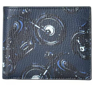 Ferragamo Slim Bi-fold Motorcycle Motif Pebbled Leather Wallet Deep Blue  Blue Bi Fold Wallet