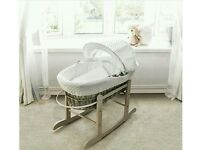 Kinder valley white Dimple with Dove Grey Wicker moses basket. Brand new 3 left in stock.