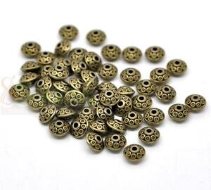 100 Bronze Tone Pattern Spacer Beads 6x4mm