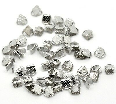 100 Ribbon End Clamps Cord Ends 6mm Silver Tone Jewellery Findings J14902
