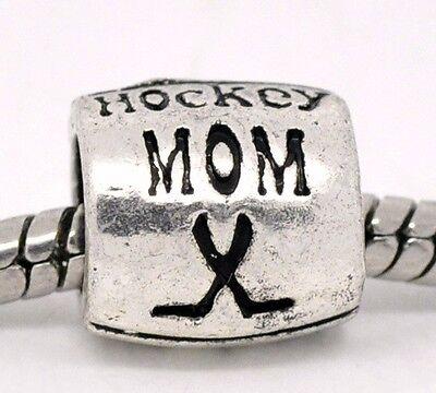 Sports Mom Charm - Hockey Mom Team Sports Coach Gift Spacer Charm for Silver European Bead Bracelet
