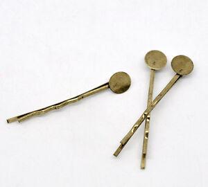 100-Bronze-Tone-Bobby-Pins-Hair-Clips-W-Glue-Pad