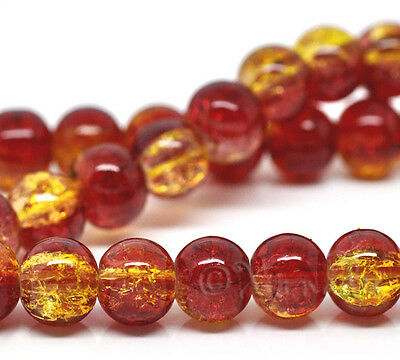 Red And Gold Wholesale 8Mm Round Crackle Glass Beads G2231   50  100 Or 200Pcs