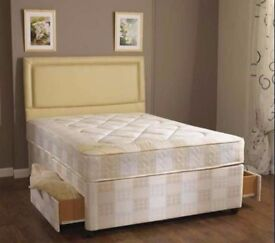 **100% PRICE Match!**BRAND NEW-Divan Double Bed W/ Deep Quilted Mattress,Storage & Headboard Options