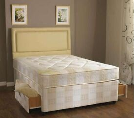 BRAND NEW** 4FT SMALL DOUBLE, 4FT6 DOUBLE OR 5FT KING DIVAN BED WITH DEEP MATTRESS HEADBOARD DRAWERS