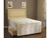 - DOUBLE DIVAN BED - BASE WITH DUAL SIDED SEMI ORTHOPEDIC MATTRESS - SAME DAY DELIVERY - BRAND NEW -