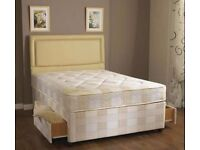 New 4'6ft Double Luxury Deep Quilted Divan Bed + Storage Headboard ==3FT SINGLE BED 5FT KINGSIZE
