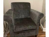 2 Grey velvet armchairs