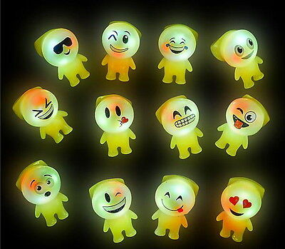 6 LED LIGHT UP FLASHING EMOJI RINGS EMOTICON JELLY RING PARTY FAVORS CARNIVAL