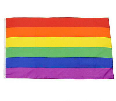 "Rainbow Flag 3 x 5 FT Gay Pride Lesbian 36"" x 60"" LGBT Flag with Grommets"