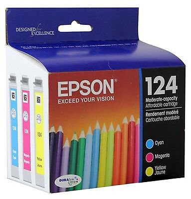 Genuine Epson 124 3-Pack Color Ink Cartridges Cyan Magenta Yellow C13T124520