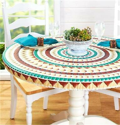 CUSTOM FIT WOOD MARBLE OR MOSAIC PATTERN TABLE COVER FOR OVAL OR ROUND TABLES ()