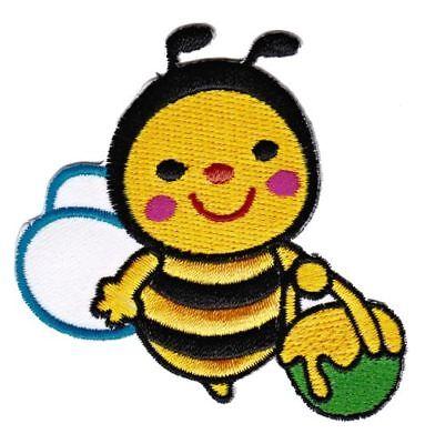 be55 Biene Hummel Bee Honig Topf Aufnäher Patch Bügelbild Flicken 6,8 x 6,8 cm (Biene Honig Topf)