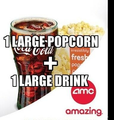 AMC Theaters - 1 Large Popcorn + 1 Large Drink - Expires 6/30/20 *FAST DELIVERY*