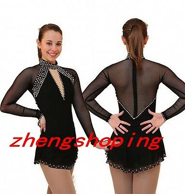 Ice Figure Skating Dress Women Girls Hook Long Sleeve Competition Dress 8914