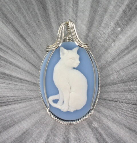 Cat Cameo Pendant in Sterling Silver Setting  Resin