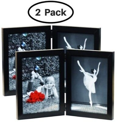 5x7 Folding Picture Frames (2-Pack) Wood w/ Glass Front - Black Bifold Double