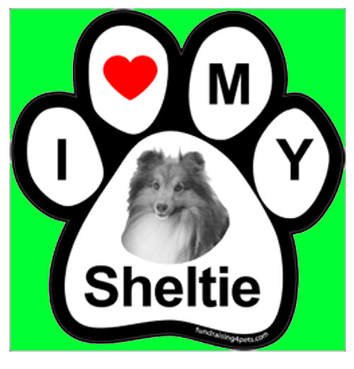 I LOVE  3 MY SHELTIE - PAW MAGNET,Dog Cat Pet Rescue Charity