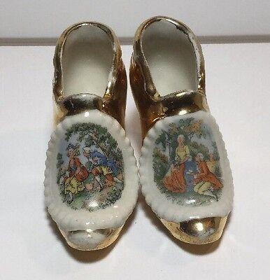 Vintage Miniature Gold & White  Decorative Colonial Porcelain Shoes