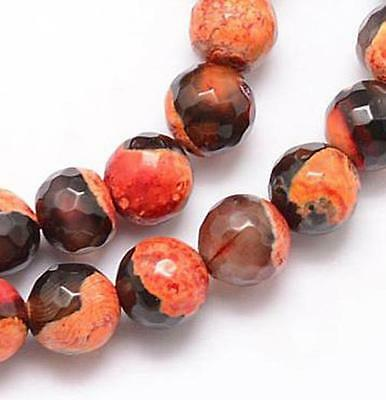 PREMIUM QUALITY NATURAL FIRE AGATE FACETED ROUND BEADS BLACK AMBER  8mm 25 Beads