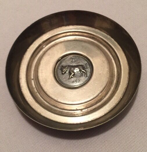 VTG Silver Plated Taurus Ashtray Towle Willam Adams Italy Horoscope Bull 1980