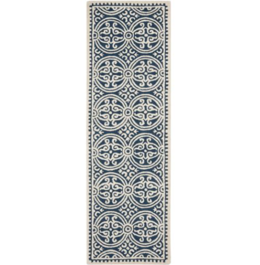 Safavieh Hand Made Navy Blue Ivory White Wool Area Rug 2' 6""