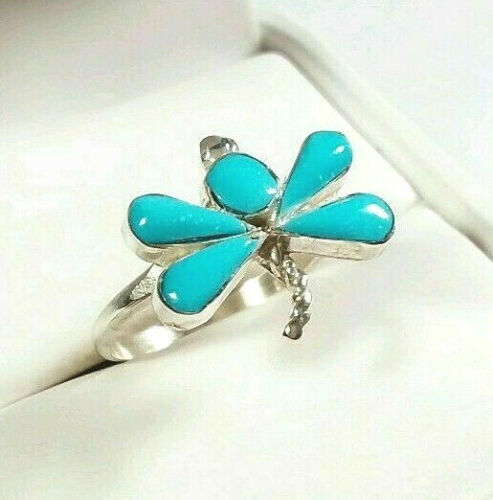 Zuni Joann Cooeyate 925 sterling silver ring turquoise dragonfly bug insect 7.5