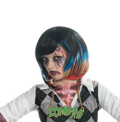 Girls Punk Zombie Wig Black Hair Blue Red Blonde Streaks Costume Child Kids  - Zombie Wig
