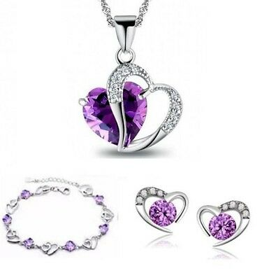 Sterling Silver Heart Amethyst Necklace Bracelet Stud Earring Jewelry Set Gift