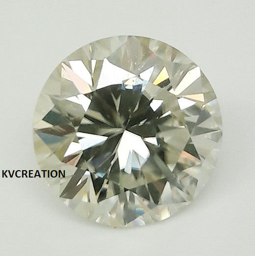 FAIRY 0.92 CT/VVS1 6.69 MM OFF WHITE YELLOW ROUND CUT LOOSE MOISSANITE 4 RING KV